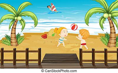 bambini, spiaggia