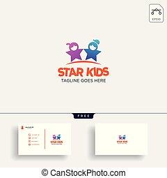 bambini, stella, idea affari, illustrazione, creativo, vettore, sagoma, logotipo, scheda