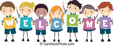 bambini, stickman, benvenuto, illustrazione, uniforme, asse