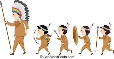 bambini, stickman, caccia, illustrazione, ragazzi, indiano, seguire