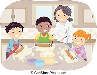 bambini, stickman, casalingo, pizza