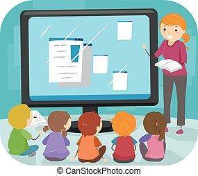 bambini, stickman, classe, computer