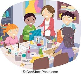 bambini, stickman, classe, cucito