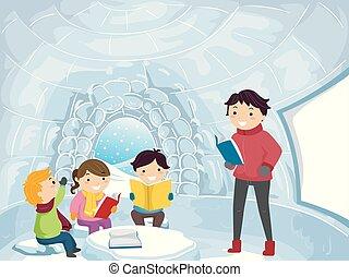 bambini, stickman, classe, illustrazione, igloo