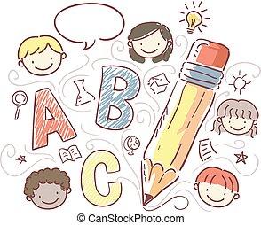 bambini, stickman, creativo, illustrazione, scrittura