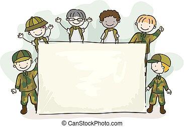 bambini, stickman, esercito, monello, illustrazione, asse