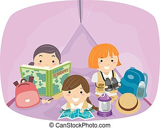 bambini, stickman, esploratore, ragazze, illustrazione, tenda