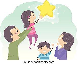 bambini, stickman, famiglia, raggiungimento, illustrazione, stella