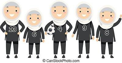 bambini, stickman, football, ragazze, illustrazione, squadra