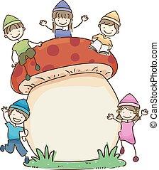 bambini, stickman, fungo, nani, illustrazione, asse