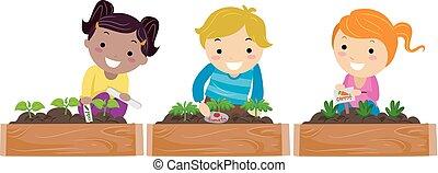bambini, stickman, giardino, illustrazione, marcatori
