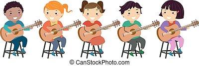 bambini, stickman, illustrazione, chitarra, classe, lezione