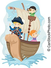 bambini, stickman, illustrazione, esplorare, capitano nave
