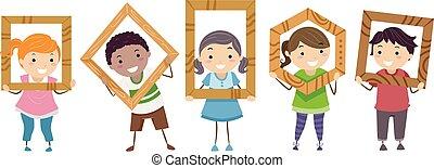 bambini, stickman, illustrazione, legno, cornici, classe
