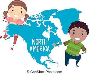 bambini, stickman, illustrazione, nord america, continente