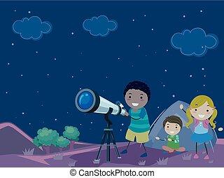 bambini, stickman, illustrazione, notte, stella fissa