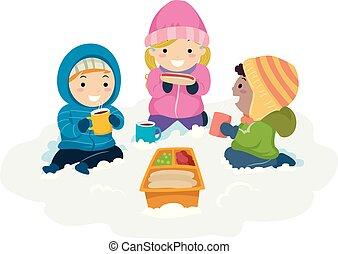 bambini, stickman, inverno, neve, illustrazione, picnic
