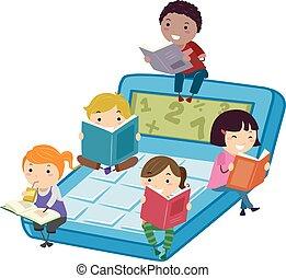 bambini, stickman, leggere, calcolatore, libro, matematica