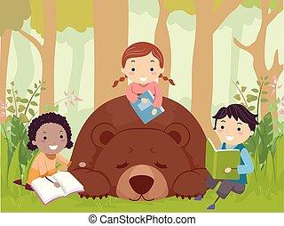 bambini, stickman, leggere, illustrazione, libro, orso