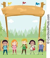 bambini, stickman, luogo accampamento, illustrazione, bandiera