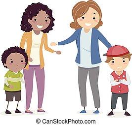 bambini, stickman, madri, truccare, illustrazione, lotta