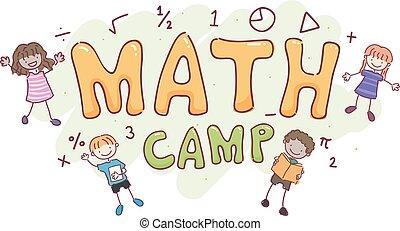 bambini, stickman, matematica, illustrazione, campeggiare