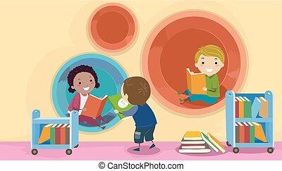 bambini, stickman, moderno, biblioteca, illustrazione, baccello