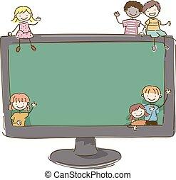 bambini, stickman, monitor, illustrazione, linea, classe