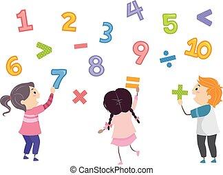 bambini, stickman, numeri, matematica