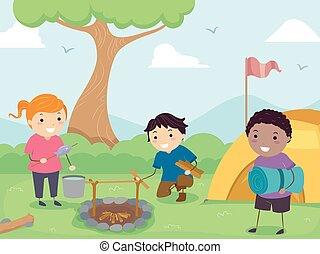 bambini, stickman, preparazione, illustrazione, campeggio
