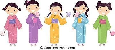 bambini, stickman, ragazze, giapponese, illustrazione, chimono
