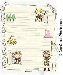 bambini, stickman, ragazze, illustrazione, carta, esploratori