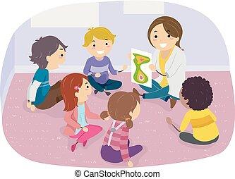 bambini, stickman, stanza, illustrazione, consiglio gruppo