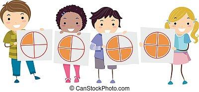 bambini, stickman, torta, frazione, matematica