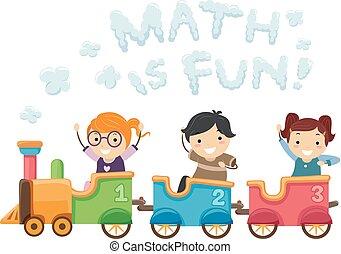 bambini, stickman, treno, illustrazione, 123, matematica