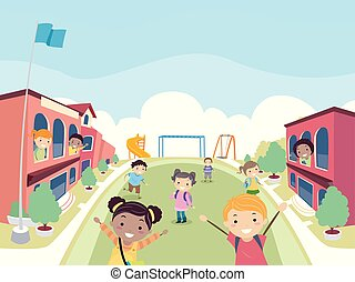 bambini, stickman, università, scuola, studenti, illustrazione