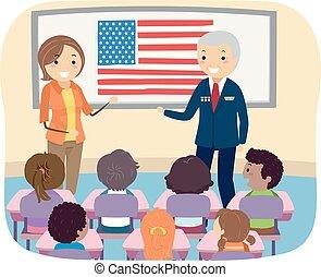 bambini, stickman, veterano, illustrazione, soldato, classe