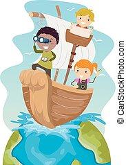 bambini, stickman, viaggiare, illustrazione, mondo, nave