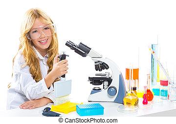 bambini, studente, ragazza, in, capretto, chimico, laboratorio