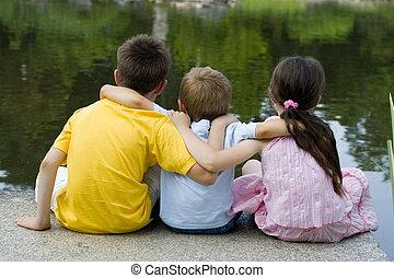 bambini, su, lago