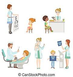 bambini, su, medico, controllo, set