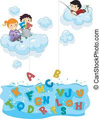 bambini, su, nubi, pesca, per, alfabeti, mare