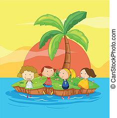 bambini, su, un, isola
