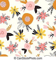 bambini, tessuto, modello, decorazione, arancia, fondo., giallo, rosa, scandinavo, retro, seamless, oro, vettore, decorativo, superficie, carta da parati, floreale, fiori, appartamento, bianco, imballaggio, stampa, stilizzato