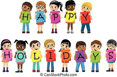 bambini, testo, incantesimo, isolato, vacanze, multirazziale, cartone, fuori, bambini, felice