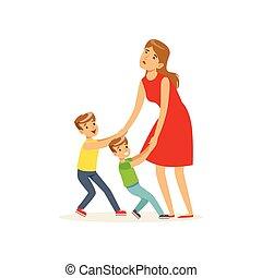 bambini, trascinamento, loro, esaurito, madre, giocare, suonare, recitare