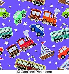 bambini, trasporto, seamless, fondo, giocattoli