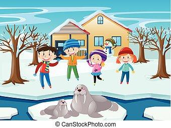 bambini, tricheco, scena inverno