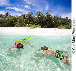 bambini, tropici, snorkeling