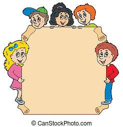 bambini, vario, pergamena, appostando